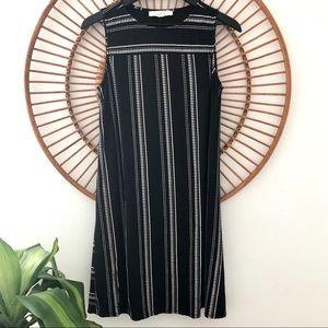LOFT Black Swing Dress with Cream Embroidery